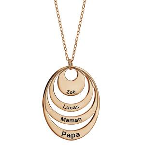 Collier en plaqué or chaîne avec pendentif 4 anneaux à graver - longueur 40cm + 5cm de rallonge - Vue 1
