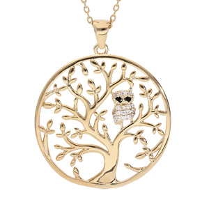 Collier en plaqué or chaîne avec pendentif arbre de vie et chouette empierrée 40+5cm - Vue 1