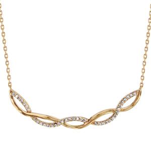 Collier en plaqué or chaîne avec pendentif 2 brins torsadés, 1 lisse et l\'autre orné d\'oxydes blancs sertis - longueur 40cm + 4cm de rallonge - Vue 1