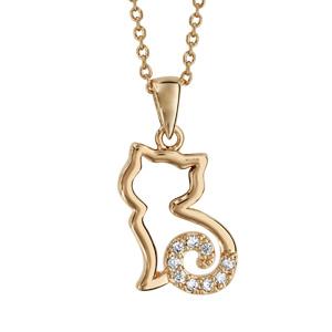 Collier en plaqué or chaîne avec pendentif chat ajouré stylisé avec queue ornée d\'oxydes blancs - longueur 40cm + 4cm de rallonge - Vue 1