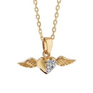 91a72c06f8bf1 Collier en plaqué or chaîne avec pendentif coeur avec moitié lisse et  moitié ornée d oxydes blancs ...