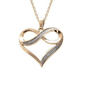 Collier en plaqué or chaîne avec pendentif coeur drapé avec infini glitter blanc 42+3cm - Vue 1