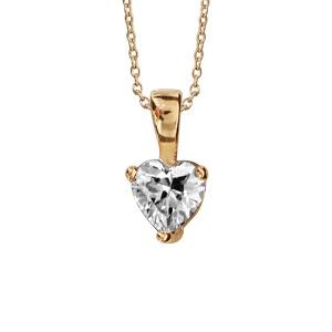 4223710a26d85 Collier en plaqué or chaîne avec pendentif coeur en oxyde blanc de 5mm