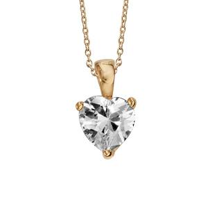 509a9bdfa72ff Collier en plaqué or chaîne avec pendentif coeur en oxyde blanc de 6mm