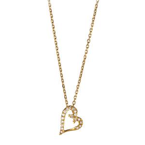 289f68d8ab3e0 Collier en plaqué or chaîne avec pendentif coeur évidé orné d oxydes blancs  suspendu en biais - longueur 45cm