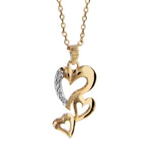 Collier en plaqué or chaîne avec pendentif 3 coeurs découpés dont 1 ouvragé - longueur 42cm + 3cm de rallonge