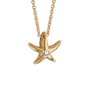 Collier en plaqué or chaîne avec pendentif étoile de mer avec 1 oxyde blanc au centre - longueur 40cm + 4cm de rallonge