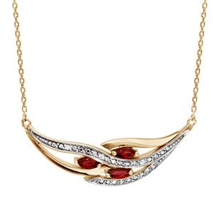 Collier en plaqué or chaîne avec pendentif grappe avec 3 navettes en oxydes rouges et rails d\'oxydes blancs sertis - longueur 42cm + 3cm de rallonge - Vue 1