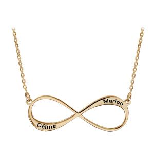 Collier en plaqué or chaîne avec pendentif infini à graver 1 ou 2 prénoms - longueur 40cm + 5cm de rallonge - Vue 1