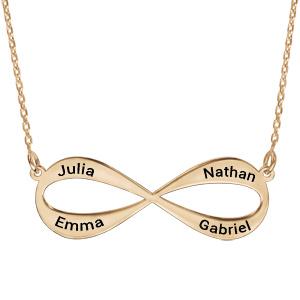 Collier en plaqué or chaîne avec pendentif infini à graver 3 ou 4 prénoms - longueur 40cm + 5cm de rallonge - Vue 1