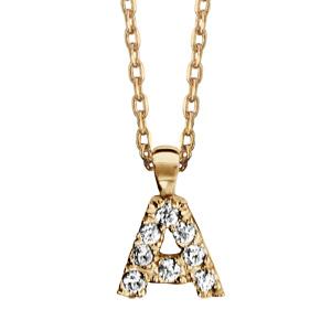 Collier en plaqué or chaîne avec pendentif initiale A ornée d'oxydes blancs - longueur 45cm