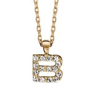 Collier en plaqué or chaîne avec pendentif initiale B ornée d'oxydes blancs - longueur 45cm