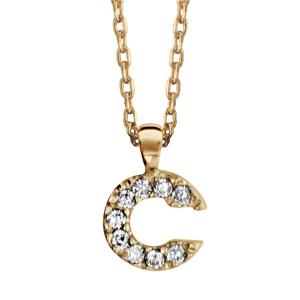 Collier en plaqué or chaîne avec pendentif initiale C ornée d'oxydes blancs - longueur 45cm