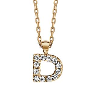 Collier en plaqué or chaîne avec pendentif initiale D ornée d'oxydes blancs - longueur 45cm