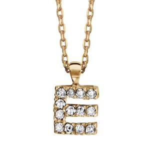 Collier en plaqué or chaîne avec pendentif initiale E ornée d'oxydes blancs - longueur 45cm