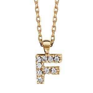 Collier en plaqué or chaîne avec pendentif initiale F ornée d\'oxydes blancs - longueur 45cm - Vue 1