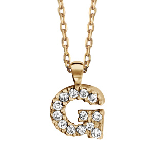 Collier en plaqué or chaîne avec pendentif initiale G ornée d'oxydes blancs - longueur 45cm