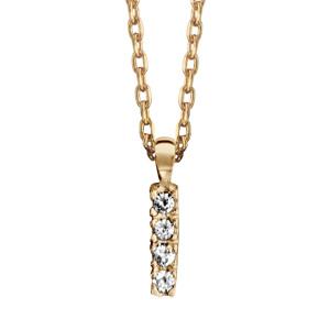 Collier en plaqué or chaîne avec pendentif initiale H ornée d'oxydes blancs - longueur 45cm
