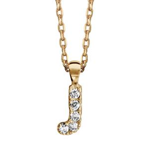 Collier en plaqué or chaîne avec pendentif initiale J ornée d'oxydes blancs - longueur 45cm