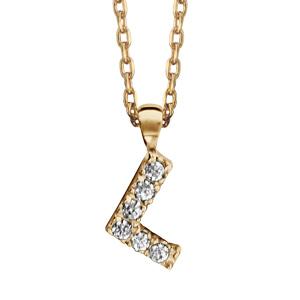 Collier en plaqué or chaîne avec pendentif initiale L ornée d\'oxydes blancs - longueur 45cm - Vue 1