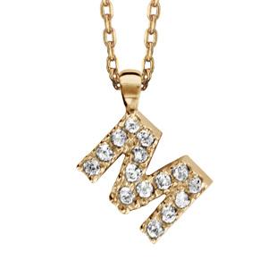 Collier en plaqué or chaîne avec pendentif initiale M ornée d\'oxydes blancs - longueur 45cm - Vue 1