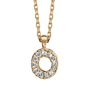 Collier en plaqué or chaîne avec pendentif initiale O ornée d'oxydes blancs - longueur 45cm