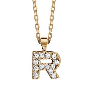 Collier en plaqué or chaîne avec pendentif initiale R ornée d'oxydes blancs - longueur 45cm