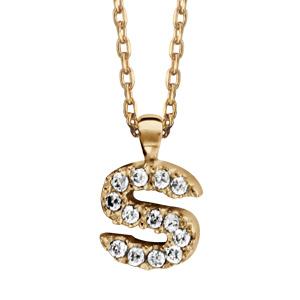 Collier en plaqué or chaîne avec pendentif initiale S ornée d'oxydes blancs - longueur 45cm