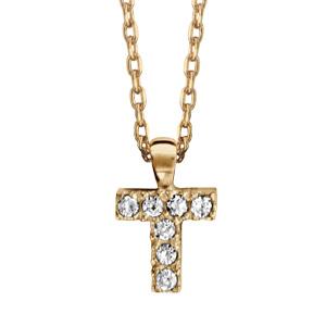 Collier en plaqué or chaîne avec pendentif initiale T ornée d'oxydes blancs - longueur 45cm