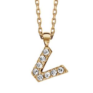 Collier en plaqué or chaîne avec pendentif initiale V ornée d'oxydes blancs - longueur 45cm