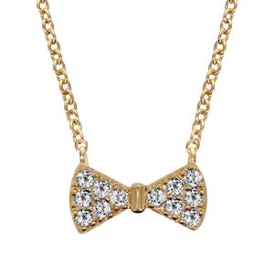 Collier en plaqué or chaîne avec pendentif noeud papillon orné d\'oxydes blancs sertis - longueur 40cm + 4cm de rallonge - Vue 1