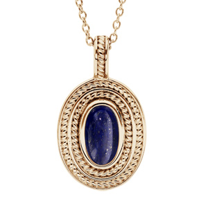 Collier en plaqué or chaîne avec pendentif ovale coeur Lapis Lazuli véritable 40+4cm - Vue 1