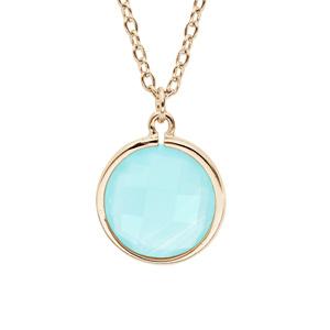 Collier en plaqué or chaîne avec pendentif pierre facettée ronde serti clos couleur bleue 40+4cm - Vue 1