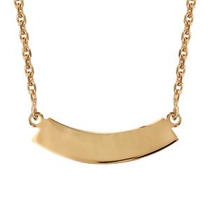 Collier en plaqué or chaîne avec pendentif plaque en demi lune à graver - longueur 40cm - Vue 1