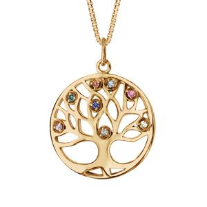 Collier en plaqué or chaîne avec pendentif rond arbre de vie pierres multi couleurs 42+3cm - Vue 1