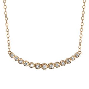 Collier en plaqué or chaîne avec pendentif suite courbée d\'oxydes blancs sertis clos - longueur 42cm + 3cm de rallonge - Vue 1