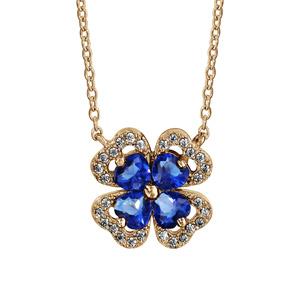 Collier en plaqué or chaîne avec pendentif trèfle à 4 feuilles en oxydes bleus avec contours en oxydes blancs sertis - longueur 40cm + 4cm de rallonge