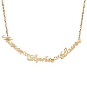 Collier en plaqué or chaîne maille forçat avec découpe anglaise 3 prénoms - longueur 40cm + 3cm de rallonge - Vue 1