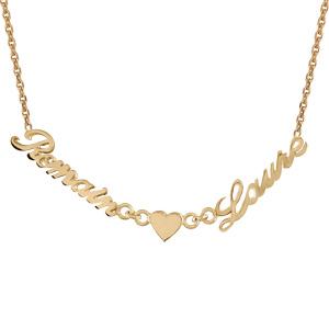 Collier en plaqué or chaîne maille forçat avec découpe anglaise 2 prénoms séparés par un coeur - longueur 40cm + 3cm de rallonge - Vue 1