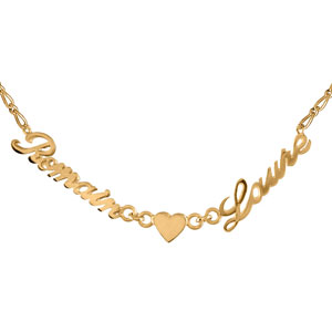 Collier en plaqué or chaîne mailles 1+1 largeur 2mm avec découpe anglaise 2 prénoms séparés par un coeur - longueur 40cm + 3cm de rallonge - Vue 1