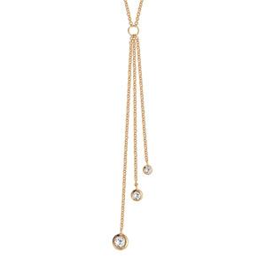 Collier en plaqué or forme Y avec 3 chaînettes avec oxydes blancs sertis clos 40cm + 4cm