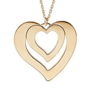 Collier en plaqué or jaune avec pendentif coeur à graver 1, 2, 3 ou 4 prénoms 40+5cm - Vue 1