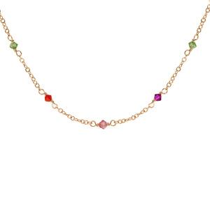 Collier en plaqué or pierres multicolores 42cm + 3cm - Vue 1