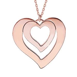 Collier en plaqué or rose avec pendentif coeur à graver 1, 2, 3 ou 4 prénoms 40+5cm - Vue 1