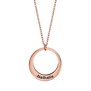 7a2cae595be2d Collier en plaqué or rose chaîne avec pendentif 1 anneau à graver -  longueur 40cm + 5cm ...