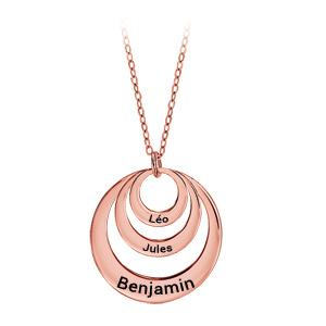 Collier en plaqué or rose chaîne avec pendentif 3 anneaux prénom à graver - longueur 40cm + 5cm de rallonge - Vue 1