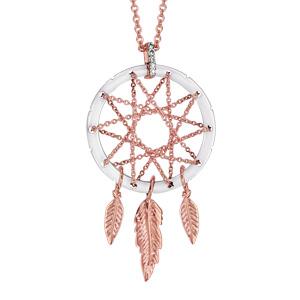 Collier en plaqué or rose chaîne avec pendentif attrape rêve avec tour en céramique blanche, milieu en chaînettes et 3 plumes suspendues - longueur 42cm + 3cm de rallonge