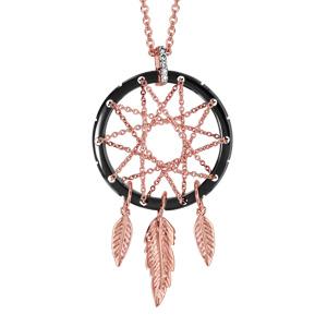 Collier en plaqué or rose chaîne avec pendentif attrape rêve avec tour en céramique noire, milieu en chaînettes et 3 plumes suspendues - longueur 42cm + 3cm de rallonge