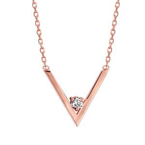 Collier en plaqué or rose chaîne avec pendentif forme V avec 1 oxyde blanc dans la pointe - longueur 39cm + 3cm de rallonge - Vue 1
