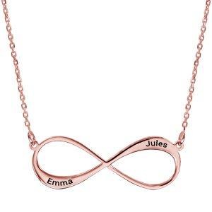 Collier en plaqué or rose chaîne avec pendentif infini à graver 1 ou 2 prénoms - longueur 40cm + 5cm de rallonge - Vue 1